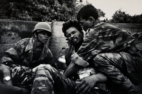 Don McCullin, Dying Cambodian Paratrooper Hit by Same Mortar Shell that Hit McCullin, Near Phnom Penh, Cambodia, 1970, Howard Greenberg Gallery, 2019