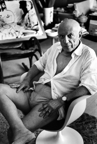 Gjon Mili - Picasso Sitting in Chair, 1967 - Howard Greenberg Gallery