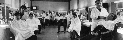 Frédéric Brenner: Exile at Home - Barbershop Barbers, 1989- Howard Greenberg Gallery