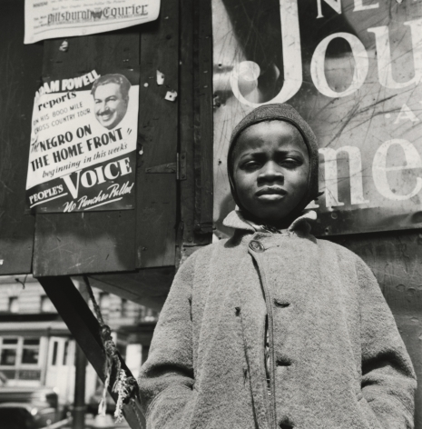 Gordon Parks - Harlem Newsboy, Harlem, New York, 1943 - Howard Greenberg Gallery
