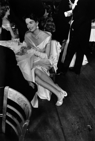 Robert Frank - Gloria Case in Opera Club during intermission on opening night of season at the Met Opera House, NYC, 1954 - Howard Greenberg Gallery