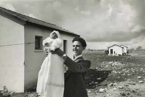 "David Seymour ""Chim"" - First Child Born in Settlement, Alma, Israel, 1951 - Howard Greenberg Gallery"