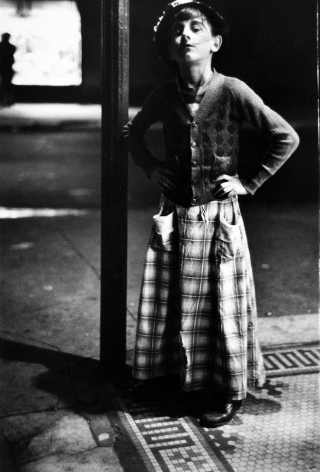 Saul Leiter, Halloween, girl in costume next to lampost, c.1952, Howard Greenberg Gallery, 2019