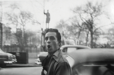 Allen Ginsberg - Jack Kerouac passing statue of Samuel Cox, Tompkins Square Park, New York City, 1953 - Howard Greenberg Gallery