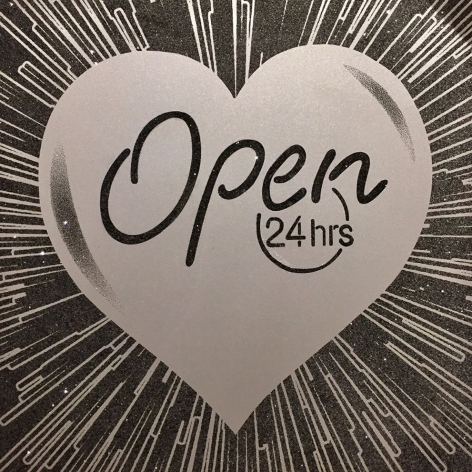 Open 24 Hours (Silver on Black), 2015
