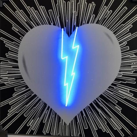 Broken Heart - White on Black - Blue Neon, 2017