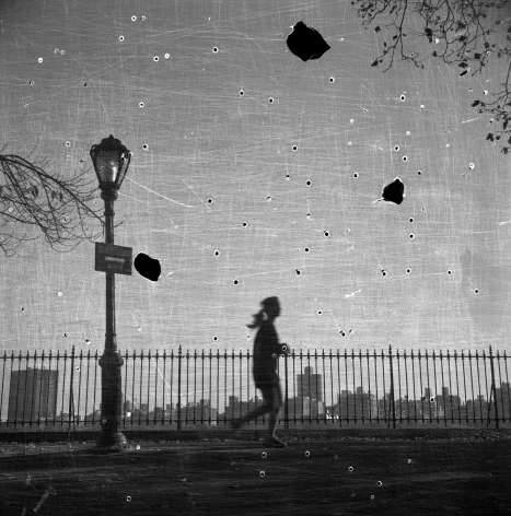 Bruno Bertrand-Frezoul, Scratching New York, Woman running along Central Park West, 2006, Sous Les Etoiles Gallery