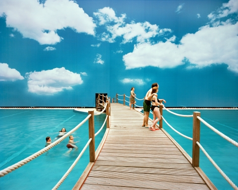 Reiner Riedler, Fake Holidays, Indoor dock with painted blue sky, Tropical Islands, Berlin, Germany, 2007, Sous Les Etoiles Gallery