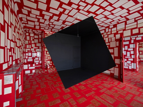Georges Rousse, anamorphose, architecture, red, Rognes, France, Sous Les Etoiles Gallery