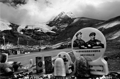 Laurent Zylberman, A Journey in Tibet, Karo-la Glacier, Souvenirs stall with Portraits of Mao Zedong and Lin Piao, 2008, Sous Les Etoiles Gallery