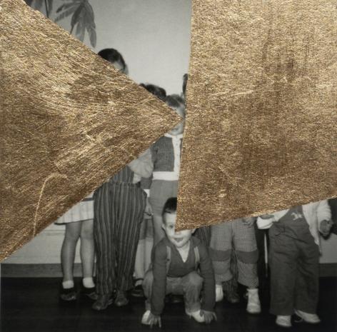 Groupe d'Enfants, 2018, children, golden foil, black and white, gold,