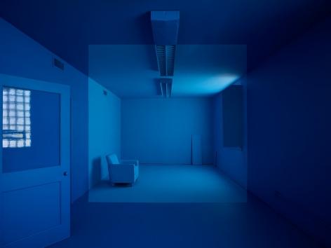 Georges Rousse, anamorphose, Nantes, architecture, color, blue, Durham, Sous Les Etoiles Gallery