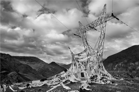 Laurent Zylberman, A Journey in Tibet, Prayer flags on power lines at the sacred lake Yamdrok-Tso, 2008, Sous Les Etoiles Gallery