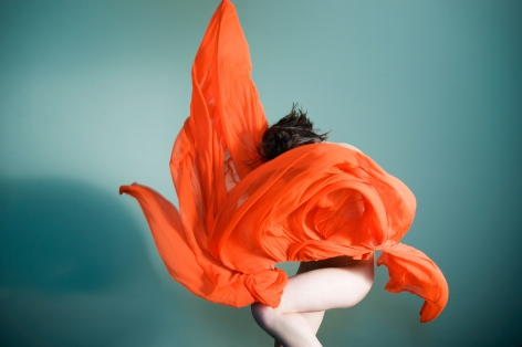 Sophie Delaporte, Nudes, woman,  model with swirl of orange fabric, 2010, Sous Les Etoiles Gallery