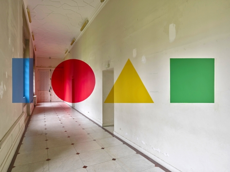 Georges Rousse, anamorphose, Nantes, architecture, color, green, yellow, red, Bastia, France, Sous Les Etoiles Gallery