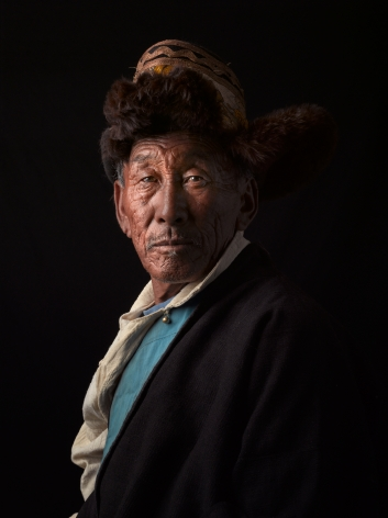 David Zimmerman, One Voice, Portrait of Tseten Dorjee in fur hat, 2012, Sous Les Etoiles Gallery