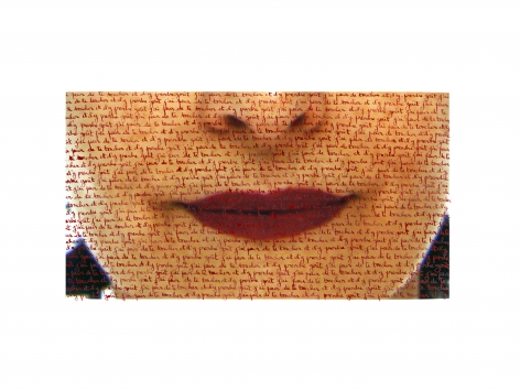 Carolle Benitah,  Morroco, red lips, love letters, red ink, written by hand, Sous Les Etoiles Gallery, New York