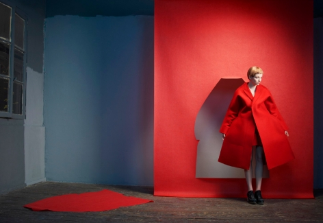 Sophie Delaporte, paper teather, woman in red, Sous Les Etoiles Gallery