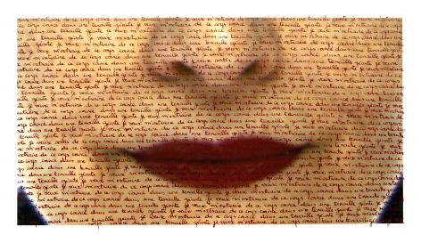 Carolle Bénitah, red lips, love letters, red ink, written by hand, body, Sous Les Etoiles Gallery