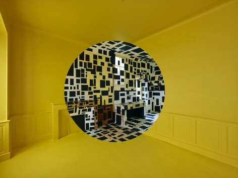 Georges Rousse, anamorphose, architecture, color, green, yellow, red, Bastia, France, Sous Les Etoiles Gallery