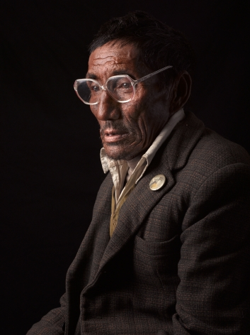 David Zimmerman, One Voice, Portrait of Lhakyi in glasses with pin, 2012, Sous Les Etoiles Gallery