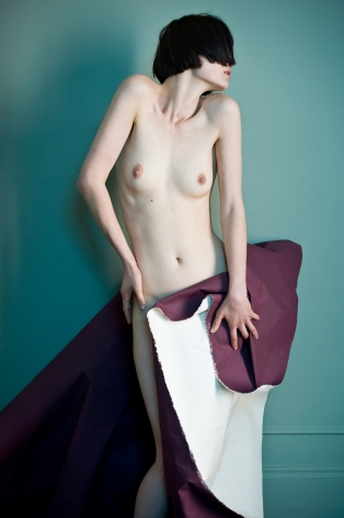 Sophie Delaporte, Nudes, woman, Model clutching purple paper, 2010, Sous Les Etoiles Gallery