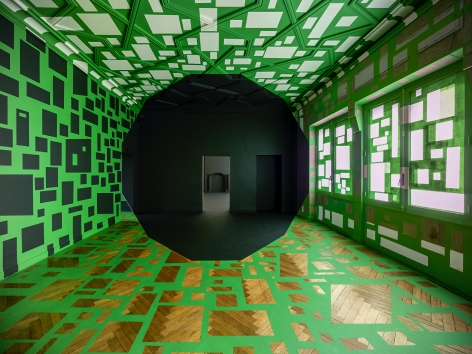 Georges Rousse, anamorphose, architecture, color, green, Nantes, France, Sous Les Etoiles Gallery