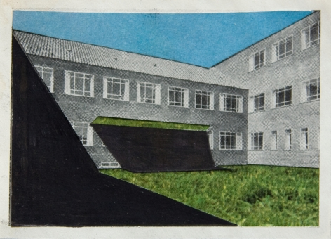 , Julie Boserup, Radiumstation,  Danish Building, collage and pencil Sous Les Etoiles Gallery