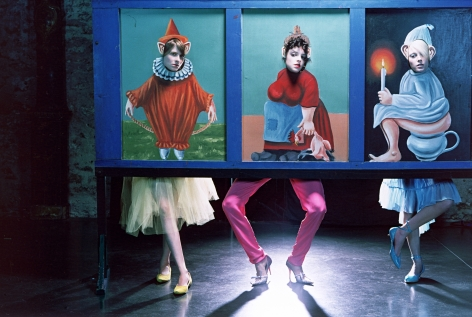 Sophie Delaporte, Early Fashion Work, Three models behind painted cut-outs, Sous Les Etoiles Gallery