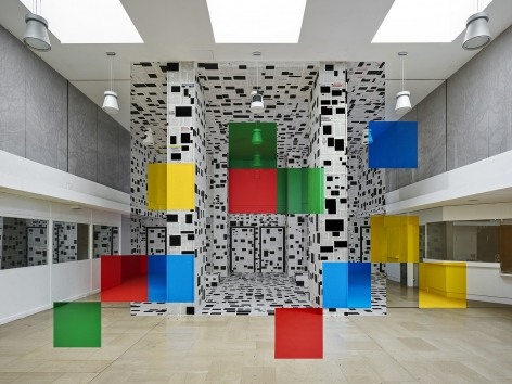 Georges Rousse, anamorphose, architecture, color, green, yellow, red, Chambéry, France, Sous Les Etoiles Gallery