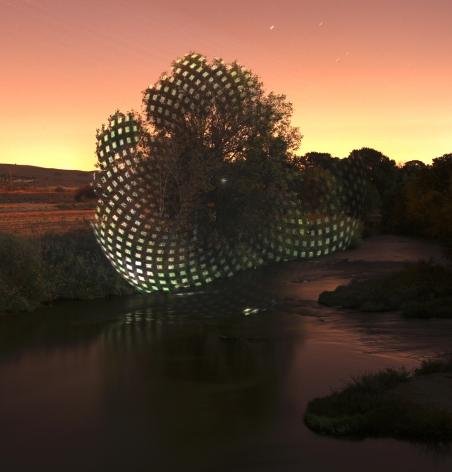 Javier Riera, light, projection, landscape, nature, Sous Les Etoiles Gallery