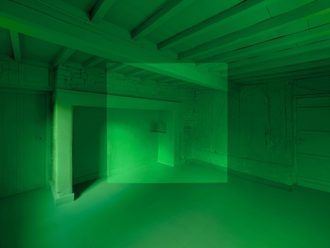 Georges Rousse, anamorphose, architecture, color, green, Montreuil, France, Sous Les Etoiles Gallery