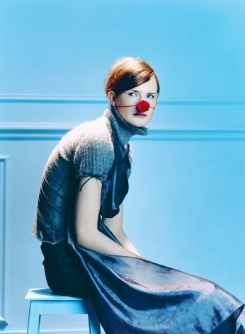 Sophie Delaporte, Early Fashion Work,  girl, Model sitting with red ball nose, Sous Les Etoiles Gallery