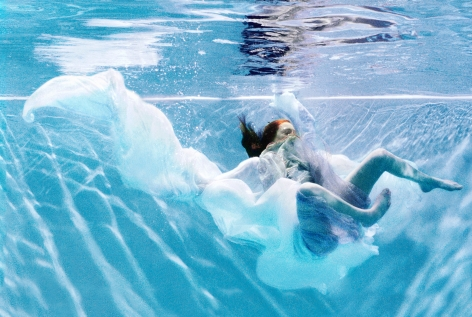 Sophie Delaporte, Early Fashion Work, Woman in dress underwater, water, 2001, Sous Les Etoiles Gallery