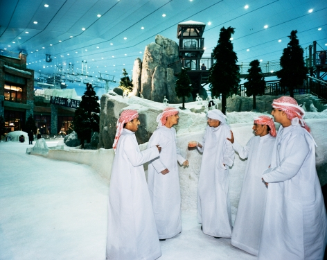 Reiner Riedler, Fake Holidays, Group of men talking at Ski Dubai Indoor, Dubai, 2006, Sous Les Etoiles Gallery