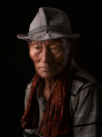 David Zimmerman, One Voice, Portrait of Dunsang Rigchen with scarf and hat, 2012, Sous Les Etoiles Gallery