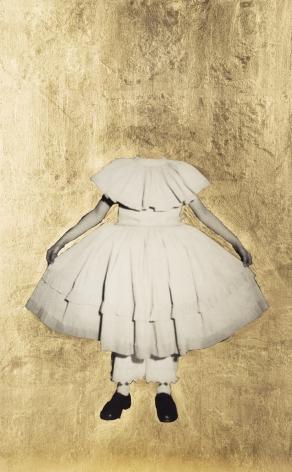 Carolle Benitah, Watteau, girl beheaded, white dress, Golden Foil,  gold, Sous Les Etoiles Gallery