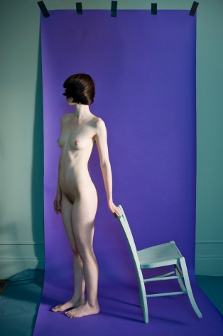 Sophie Delaporte, Nudes, Model with chair and purple background, 2010, Sous Les Etoiles Gallery