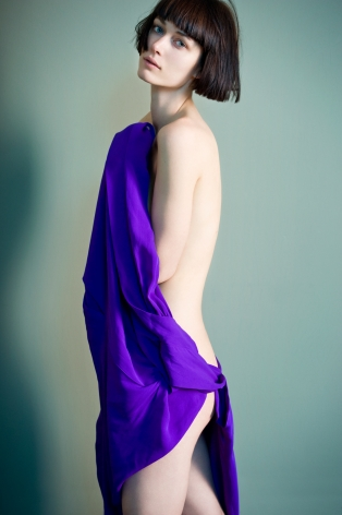 Sophie Delaporte, Nudes, Model facing camera with purple fabric, 2010, Sous Les Etoiles Gallery