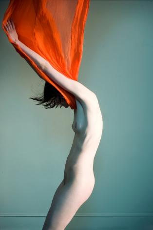 Sophie Delaporte, Nudes, Model with orange fabric, 2010, Sous Les Etoiles Gallery