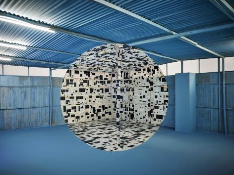 Georges Rousse, anamorphose, architecture, color, blue, Lima,  France, Sous Les Etoiles Gallery