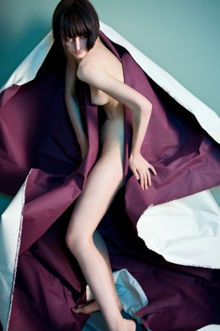 Sophie Delaporte, Nudes, Model emerging from purple paper, 2010, Sous Les Etoiles Gallery