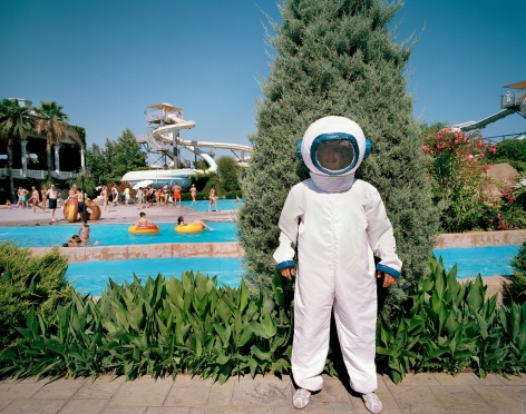 Reiner Riedler, Fake Holidays, Person in Astronaut suit, Topkapi Place Hotel, Antalya, Turkey, 2006, Sous Les Etoiles Gallery