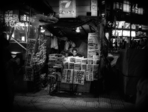 James Whitlow Delano, Mangaland, Newsstand at night, Shinjuko, Tokyo, Japan, 2002, Sous Les Etoiles Gallery