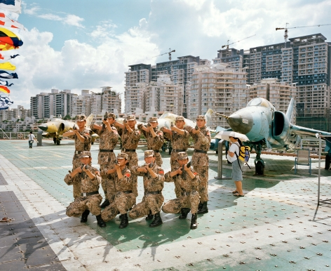 Reiner Riedler, Fake Holidays, Salute with guns at Minsk World Military Theme Park, Shenzhen, China, 2008, Sous Les Etoiles Gallery