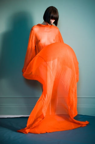 Sophie Delaporte, Nudes, Model with orange fabric as dress, 2010, Sous Les Etoiles Gallery