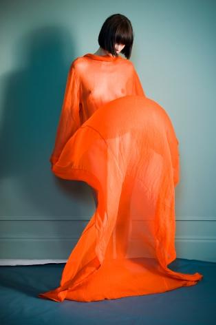 Sophie Delaporte, Nudes, Model with orange fabric as dress, 2010, Sous Les Etoiles Gallery