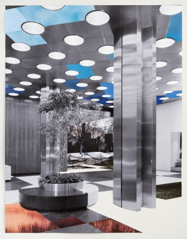 Julie Boserup,Park Avenue between 53rd and 54th Street. First National City Bank Building, upright detail of main lobby, one column and planter.from the Wurts Bros. Collection at the Museum of the City of New York