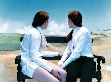 Sophie Delaporte, Early Fashion Work, Two young women seated on bench look into distance, Sous Les Etoiles Gallery