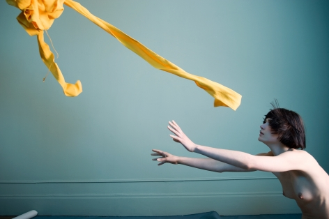 Sophie Delaporte, Nudes, woman,  Model with arms outstretched to yellow fabric, 2010, Sous Les Etoiles Gallery